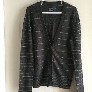 American Eagle Outfitters Grey Striped Cardigan
